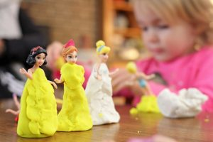 toddler imaginative play with princesses