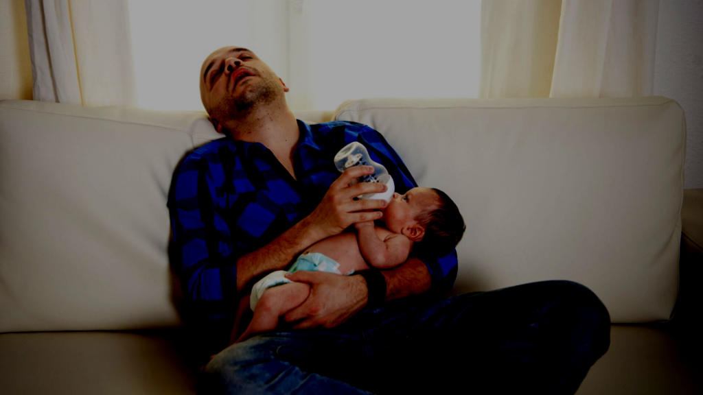 is baby waking up hungry dad is asleep while feeding baby