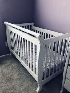 crib turned around to prevent climbing